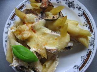 Nákyp z těstovin rigate s houbami