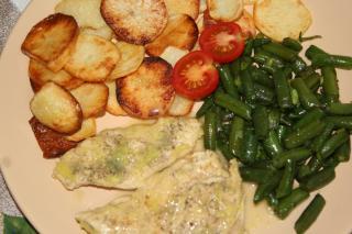 Kuřecí na másle s restovanými fazolkami