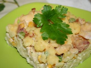 Zapékané bramborové halušky s kuřecím masem