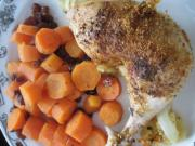 Pečená kuřecí stehna s mrkví a rozinkami